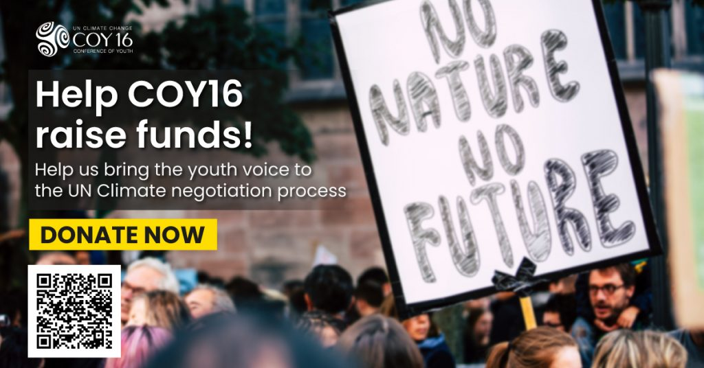 Help COY16 raise funds! Help us bring the yputh voice to the UN climate negotiation process. Donate Now.